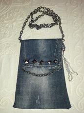 Borsa jeans con borchie