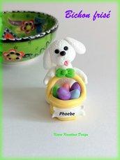 Decorazioni Pasqua cane bolognese con uova di pasqua personalizzato con il nome sul cestino, regalo pasqua per amanti dei bolognesi