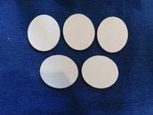 Set 5 ovali in legno grezzo di betulla 8,5 cm x 10 cm x 6 mm di spessore