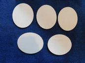 Set 5 ovali in legno grezzo di betulla 9 cm x 11,5 cm x 6 mm di spessore