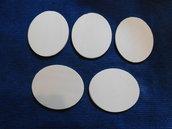Set 5 ovali in legno grezzo di betulla 10 cm x 12 cm x 6 mm di spessore
