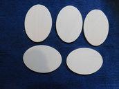 Set 5 ovali in legno grezzo di betulla 10 cm x 14 cm x 6 mm di spessore