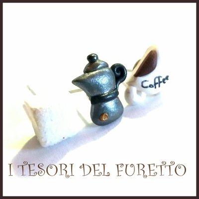 """Tris Orecchini lobo perno   Colazione all'italiana """"moka  zolletta zuccheri tazza tazzina di  caffè """"  idea regalo barista donna ragazza kawaii bambina"""