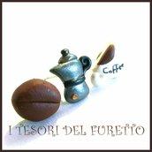 """Tris Orecchini lobo perno   Colazione all'italiana """"moka  caffettiera  tazza tazzina caffè chicco  di  caffè """"  idea regalo barista donna ragazza kawaii bambina"""