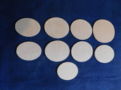 Set 9 ovali in legno grezzo di betulla misure varie x 6 mm di spessore