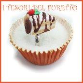 """Anello Torta  """" Happy birthday cioccolato fuso """" fetta torta panna compleanno regolabile fimo cernit kawaii miniatura cibo idea regalo pasticceria primavera estate Natale compleanno"""