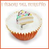 """Anello Torta  """" Happy birthday codette zuccherini"""" fetta torta panna compleanno regolabile fimo cernit kawaii miniatura cibo idea regalo pasticceria primavera estate Natale compleanno"""