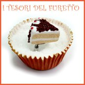 """Anello Torta  """" Happy birthday  Foresta nera i"""" fetta torta panna compleanno regolabile fimo cernit kawaii miniatura cibo idea regalo pasticceria primavera estate Natale compleanno"""