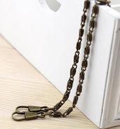 Catena in metallo 120cm colore Bronzo Antico con ganci per fissaggio. Borsa - Porta monete