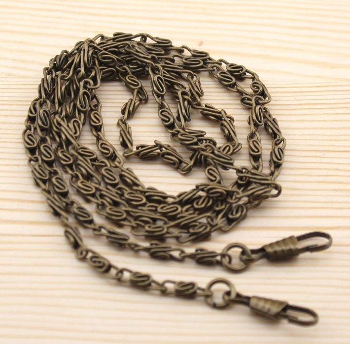 2 pcs Catena in metallo 120cm colore Bronzo Antico con ganci per fissaggio. Borsa - Porta monete