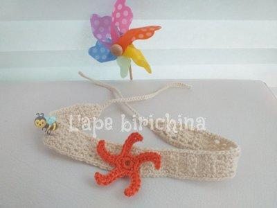 Fascia per capelli con stella marina * cotone uncinetto * neonata fermaglio battesimo