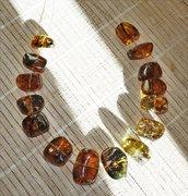 Ambra messicana alta qualità, 15 grandi perle lucidate a mano, set graduato per realizzare una collana, ambra Chiapas per gioielli, perle di ambra naturale, perle organiche