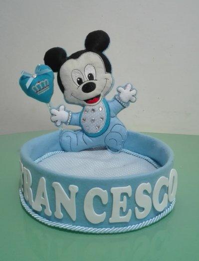 Portaconfetti in pannolenci lavorato a mano con topolino