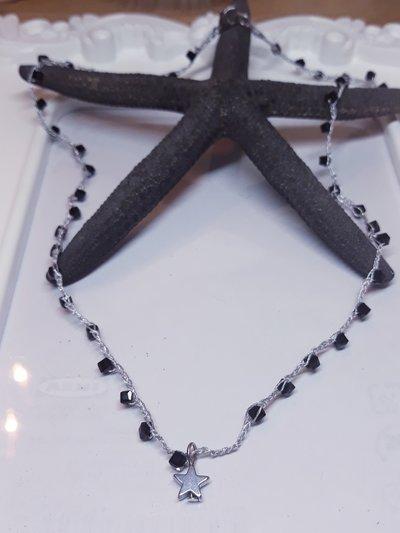 Collana rosario con cristalli e stella di Ematite bohemian handmade