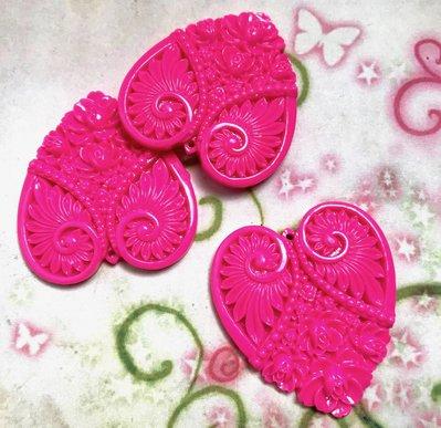 3 pz ciondoli CUORE INTARSIATO rosa fucsia - lucite - 4,8 cm