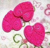 4 pz ciondoli CUORE INTARSIATO rosa fucsia - lucite - 4,8 cm