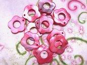 25 pz ciondoli CHARM fiore madreperla rosa corallo - 2,5 cm