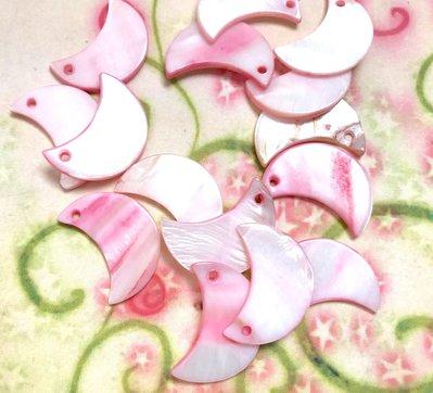 15 pz ciondoli ciondolo CHARM mezza luna madreperla rosa - 2,2 cm