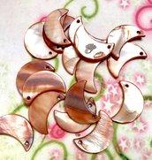25 pz ciondoli ciondolo CHARM mezza luna madreperla bronzato- 2,2 cm
