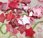 19 pz ciondoli ciondolo CHARM stella madreperla rosso 1,7 cm