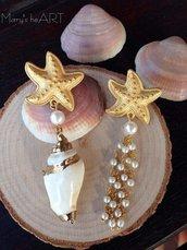 Orecchini pendenti con perni in zama, vera conchiglia e perle di Maiorca