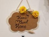Targa in legno e sughero Home Sweet Home