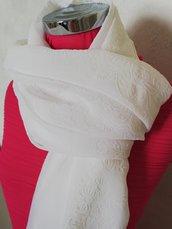 Foulard scialle bianco sposa con tessuto  broccato