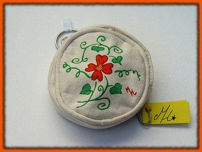 portamonete dipinto a mano - fiore arancio