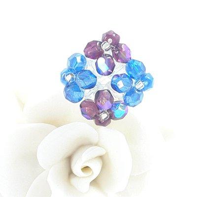 Anello con cristalli e perline, tessitura, pezzo unico, ooak, esclusivo, modello originale, idea regalo per compleanno, luminoso.