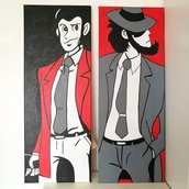 Coppia di quadri Lupin e Jigen***Dimansioni 30x80 ciascuno***acrilico su tela