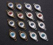 14 connettori charms occhi misti per bracciali collane