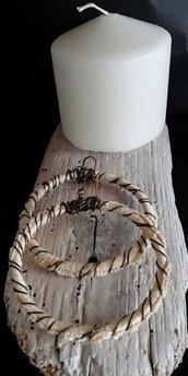 Orecchini a cerchio rotondi in filo di cotone lavorati ad uncinetto con fili di rame fatti a mano -Happy summer -