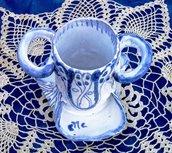 Contenitore per spazzolini dentifricio scovolino o filo interdentale manufatto di maiolica bianco e blu