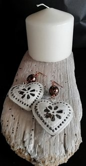 Orecchini pendenti stile Shabby Chic con cuore e perla bronzo fatti a mano -Happy Summer -