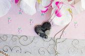 Collana in fimo Cuore nero, Gioielli Fimo, collana fatta a mano, bijoux handmade, bijoux artigianali, PROMOZIONE