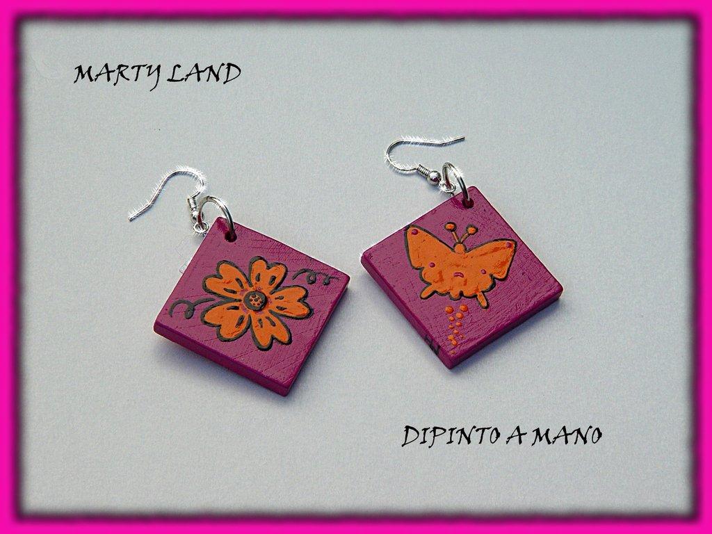 ORECCHINI FARFALLA ARANCIONE Hand painted earrings