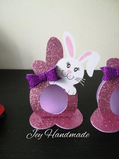 Segnaposto Porta ovetto Kinder uovo cioccolato comunione Pasqua coniglietto glitter gomma Eva crepla favour regalo caramella