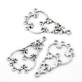 10 basi per orecchini chandelier 9 fori tono argento