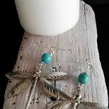 orecchini pendenti con libellule color argento e pietre  azzurre fatti a mano -Happy Summer-