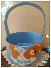 Cesto porta confetti in feltro orsetto dormiglione