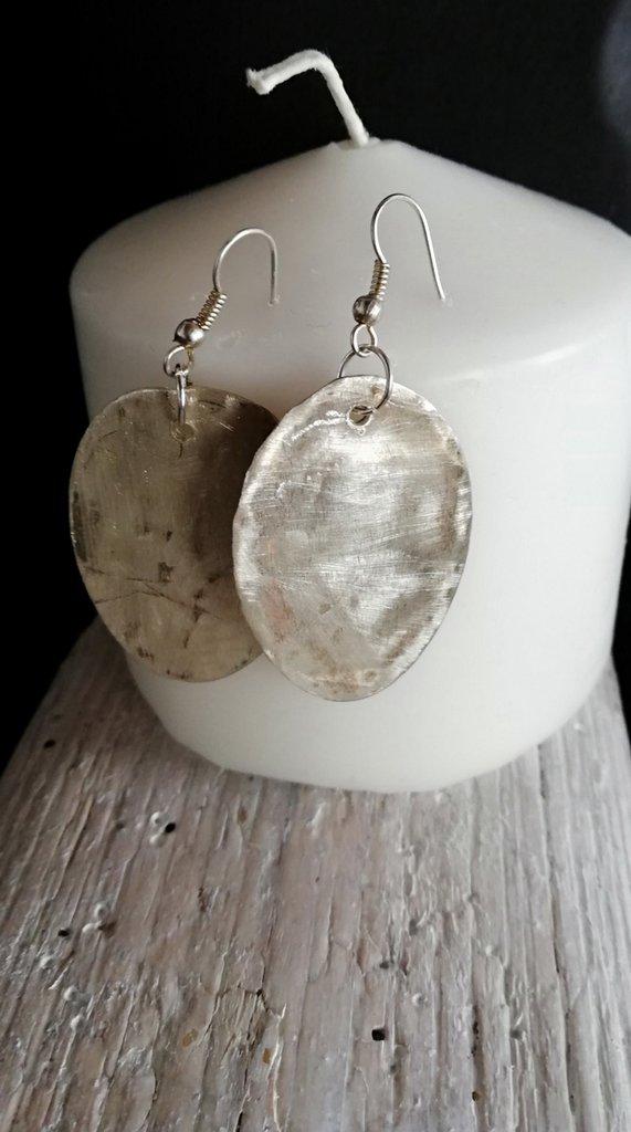Orecchini pendenti ovali in argento fatti a mano - Happy Summer -