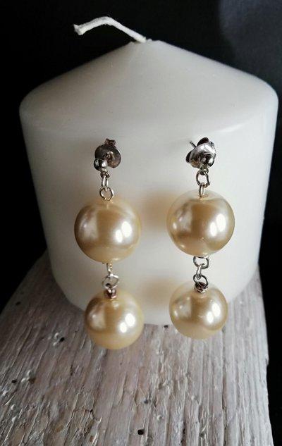 Orecchini pendenti in argento con vere perle di fiume fatti a mano - Happy Summer -