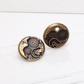 10 charms ciondoli ingranaggi meccanismo 25mm bronzo steampunk
