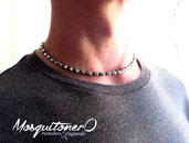 Collana uomo girocollo perline in Ematite a cubi nero e argento lucido,stile minimal,zen collana