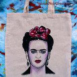 Borsa shopper in tela dipinta a mano Frida Kahlo