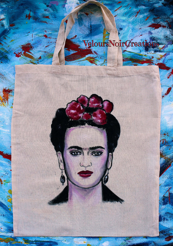 Borsa shopper in tela dipinta a mano Frida Kahlo