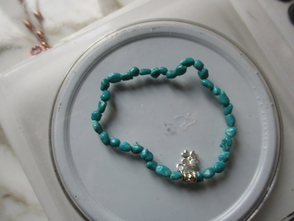 braccialetto elastico pepite di turchese africano