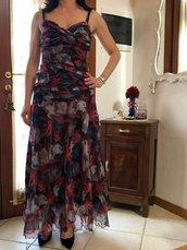 Vestito da cerimonio di seta 100% stampata fioreale di fantasia. Tg 40-42 Unico pezzo