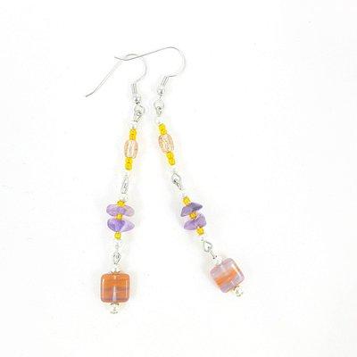 Orecchini arancio, viola e rosa, pendenti, pezzo unico, ooak, esclusivi, modello originale, idea regalo, compleanno.