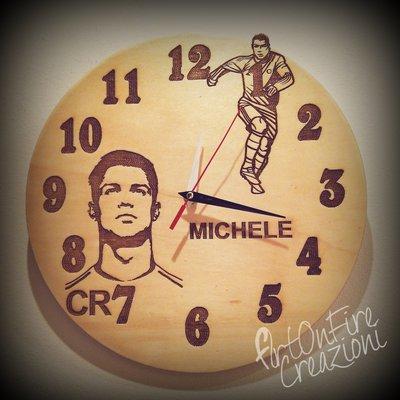 Orologio in legno da parete juventus Cristiano Ronaldo personalizzabile